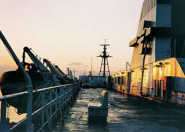 an Deck, Ligurisches Meer, Italien, September 2003